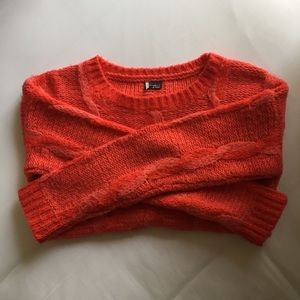 Urban Outfitters red orange Cable Knit Sweater